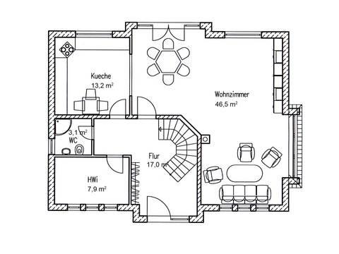 Einfamilienhaus Birke 170 Grundriss EG von Baufuchs Massivhaus