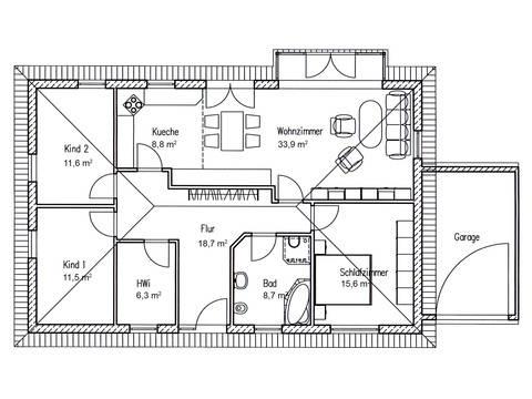 Grundriss Bungalow 115 von Baufuchs Massivhaus