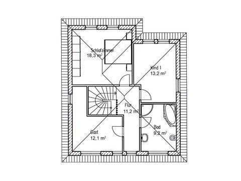 Grundriss DG Stadthaus Eiche 128 von Baufuchs Massivhaus