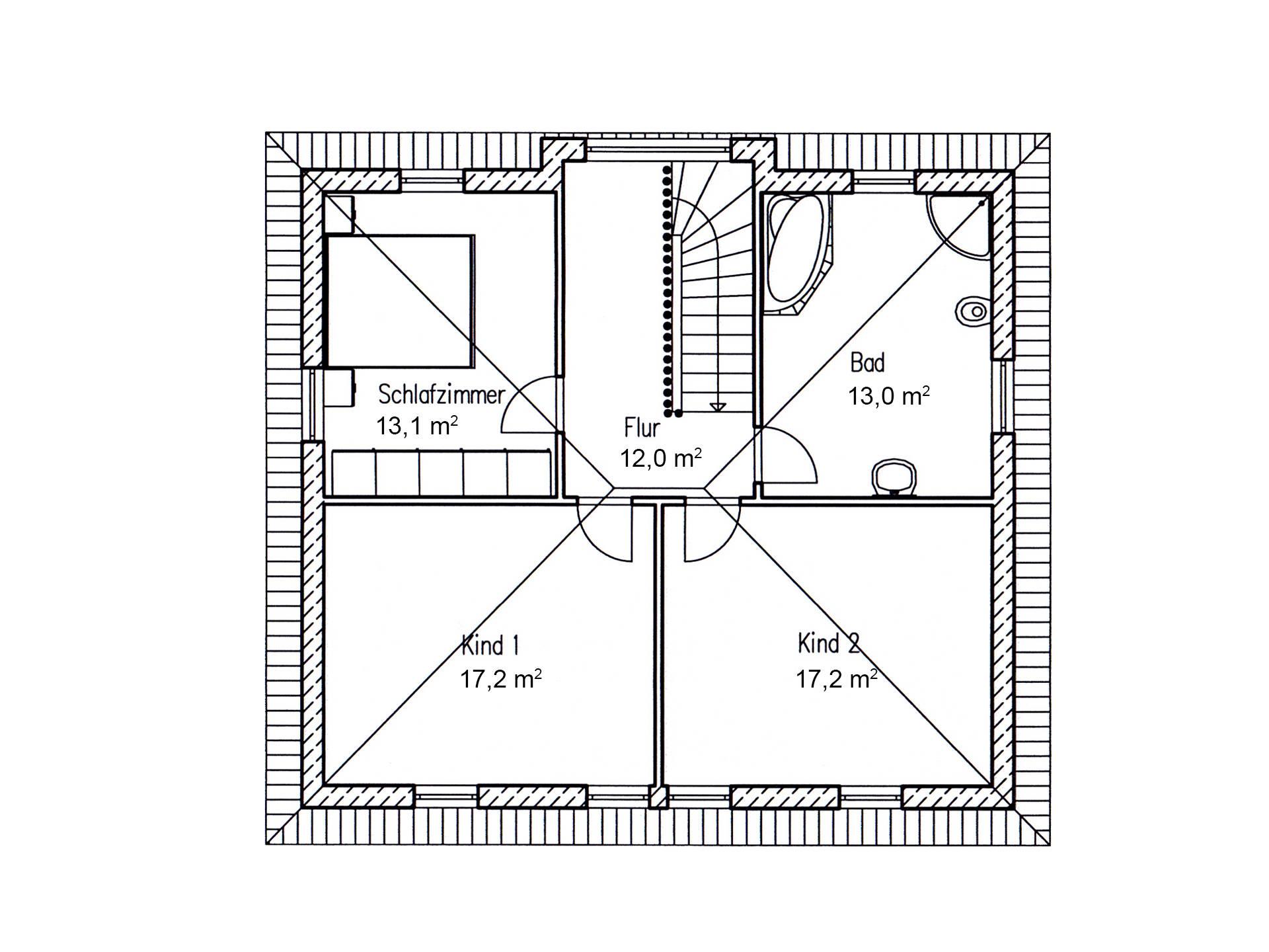 Grundriss DG Stadthaus Eiche 144 von Baufuchs Massivhaus