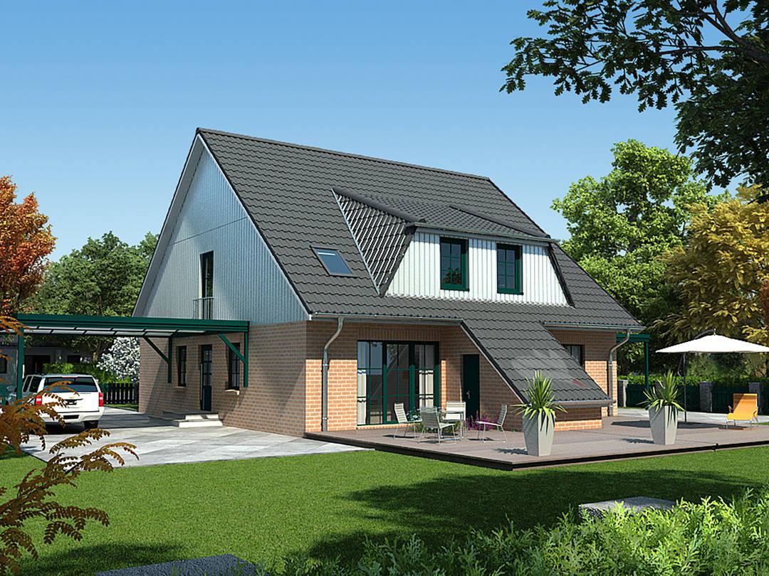 Doppelhaus Erle 115 Rückansicht von Baufuchs Massivhaus
