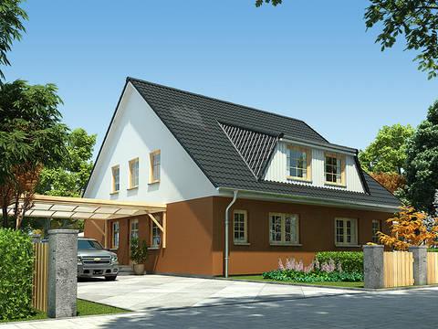Doppelhaus Erle 115 Frontansicht von Baufuchs Massivhaus