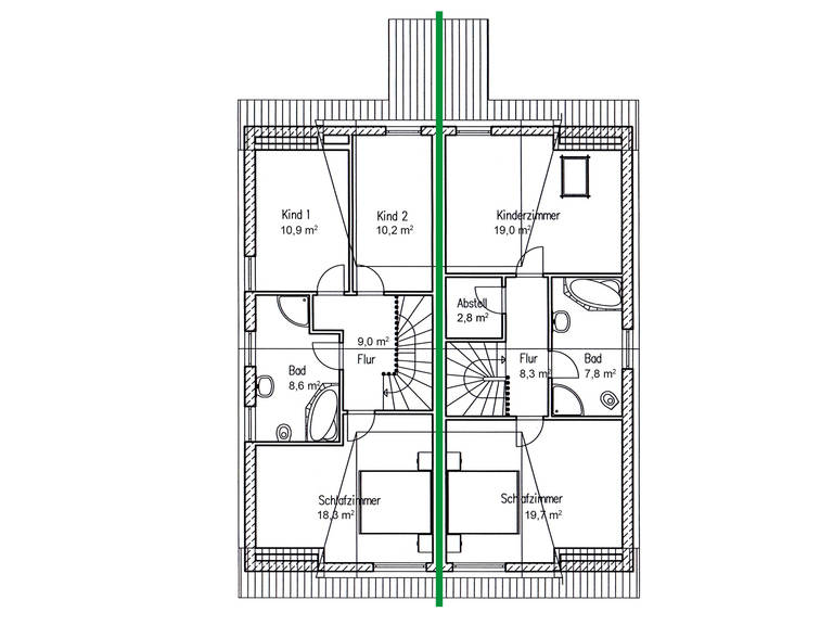 Doppelhaus Erle 115 Grundriss DG von Baufuchs Massivhaus
