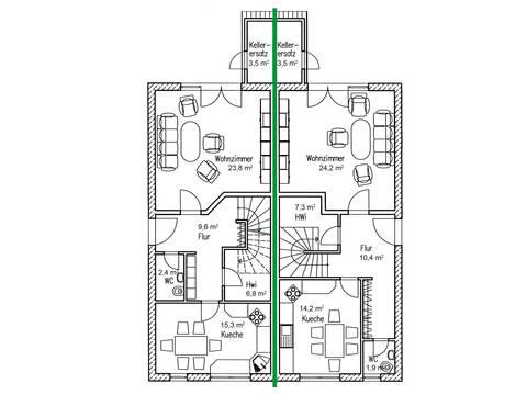 Doppelhaus Erle 115 Grundriss EG von Baufuchs Massivhaus