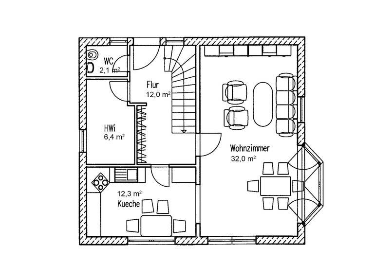 Grundriss EG Landhaus Linde 124 von Baufuchs Massivhaus