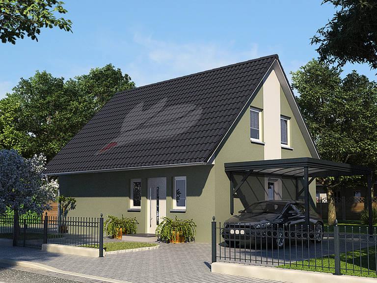 Landhaus Linde 124 Frontansicht von Baufuchs Massivhaus