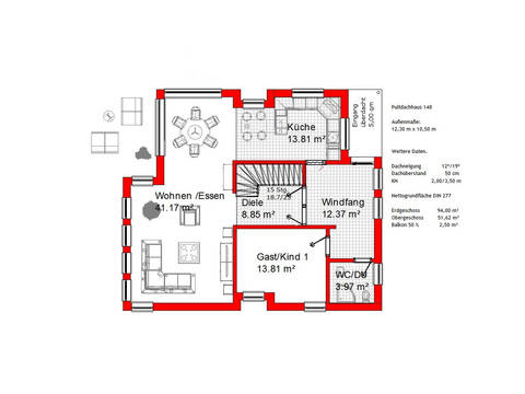 Grundriss EG Pultdachhaus 148 von KMT-Massivhaus