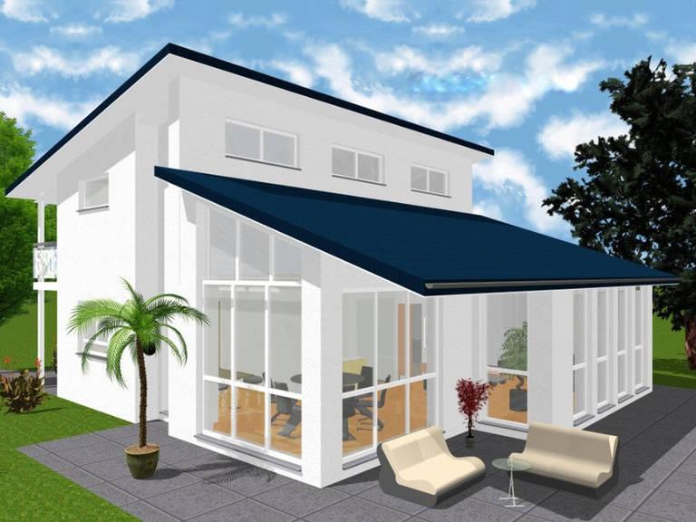 Aussenansicht Pultdachhaus 148 von KMT-Massivhaus
