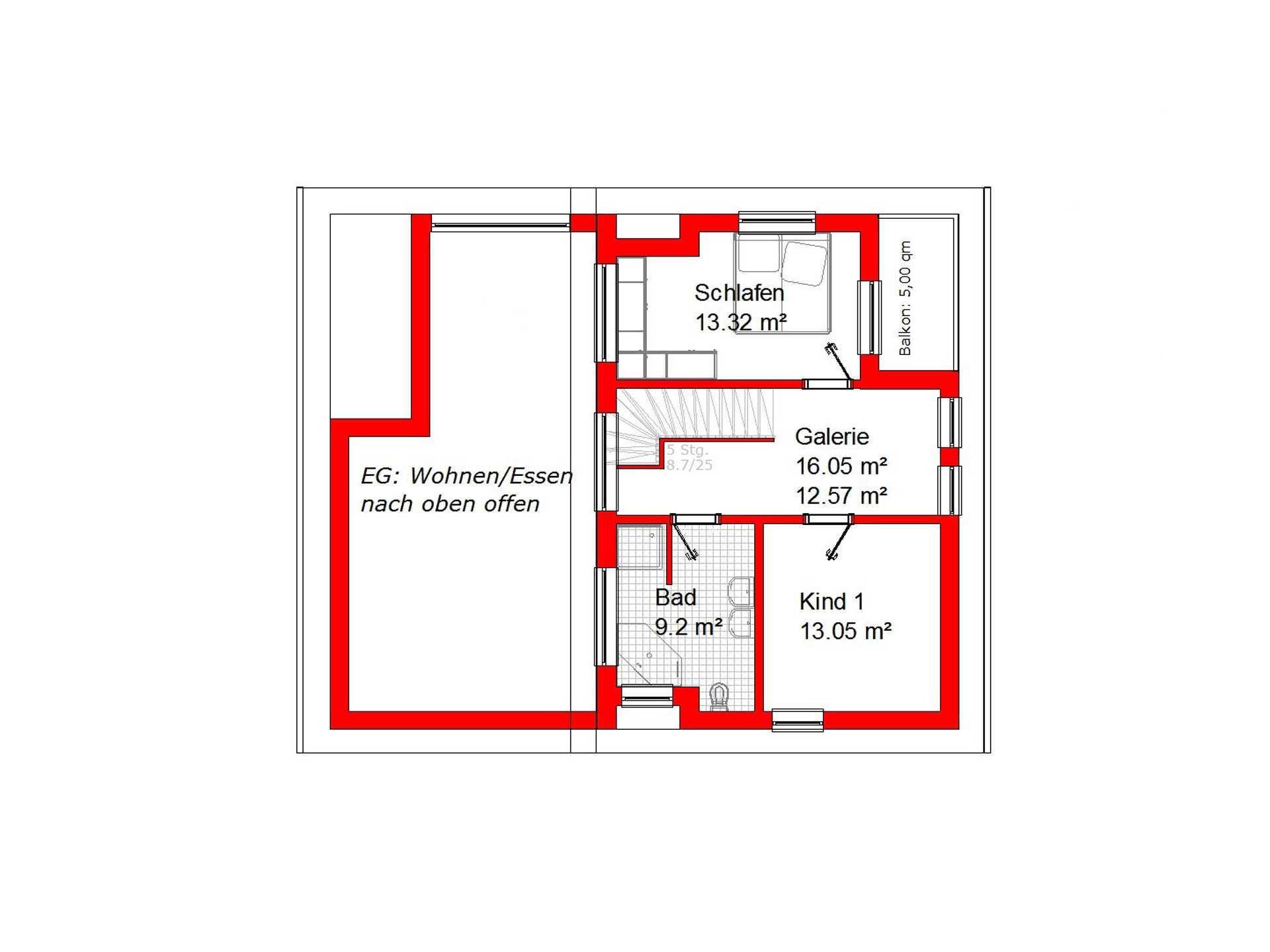 Grundriss OG Pultdachhaus 148 von KMT-Massivhaus