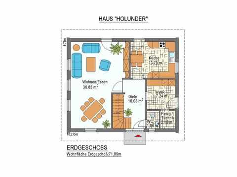 Haus Holunder - ideal-heim-bau Grundriss EG