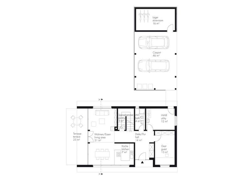 Grundriss EG Haus Hellwig von Becker360