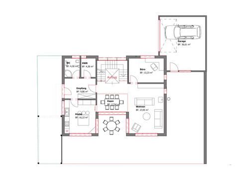 Grundriss EG Pultdachhaus Westfalen von Becker360