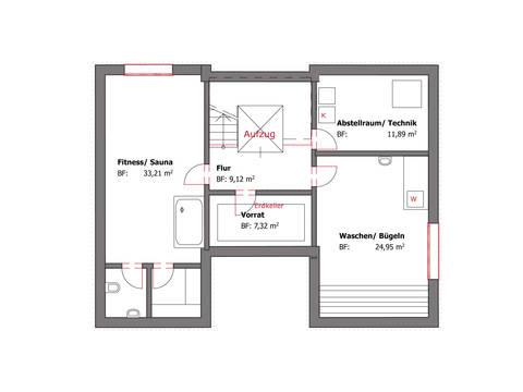 Grundriss KG Pultdachhaus Westfalen von Becker360
