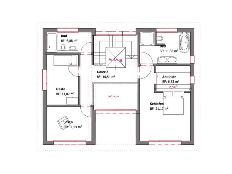 Grundriss OG Pultdachhaus Westfalen von Becker360