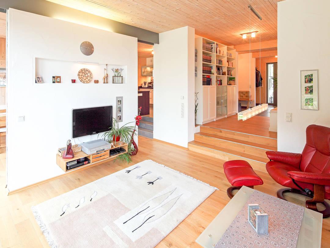 Innenansicht Wohnzimmer Haus Figgen von Becker360