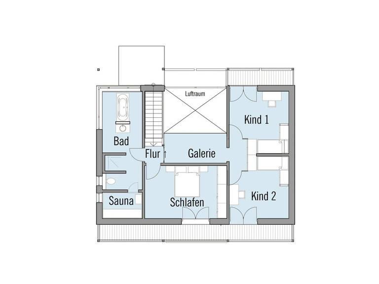 Grundriss Dachgeschoss Musterhaus Alpenchic Baufritz