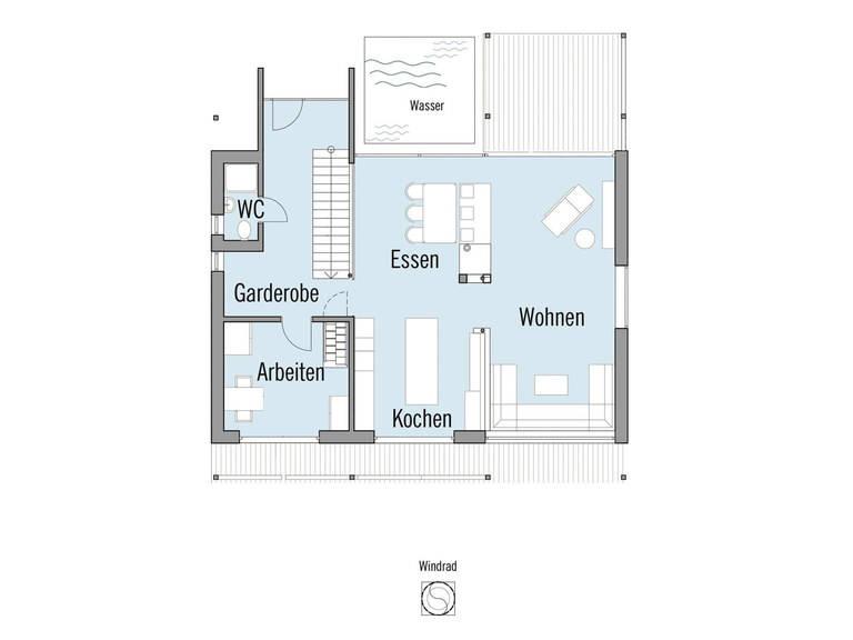 Grundriss Erdgeschoss Musterhaus Alpenchic Baufritz
