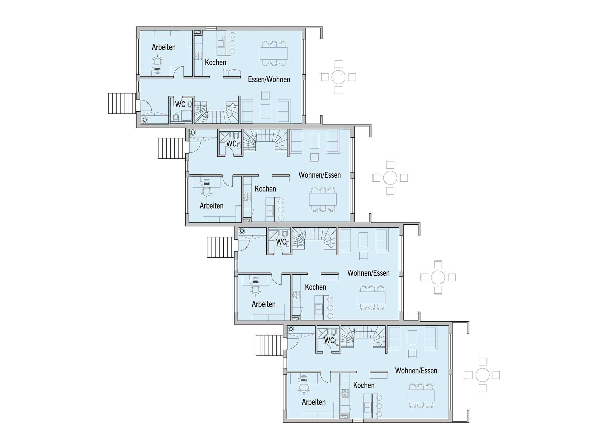 Grundriss Erdgeschoss Mehrfamilienhaus Gardet Baufritz