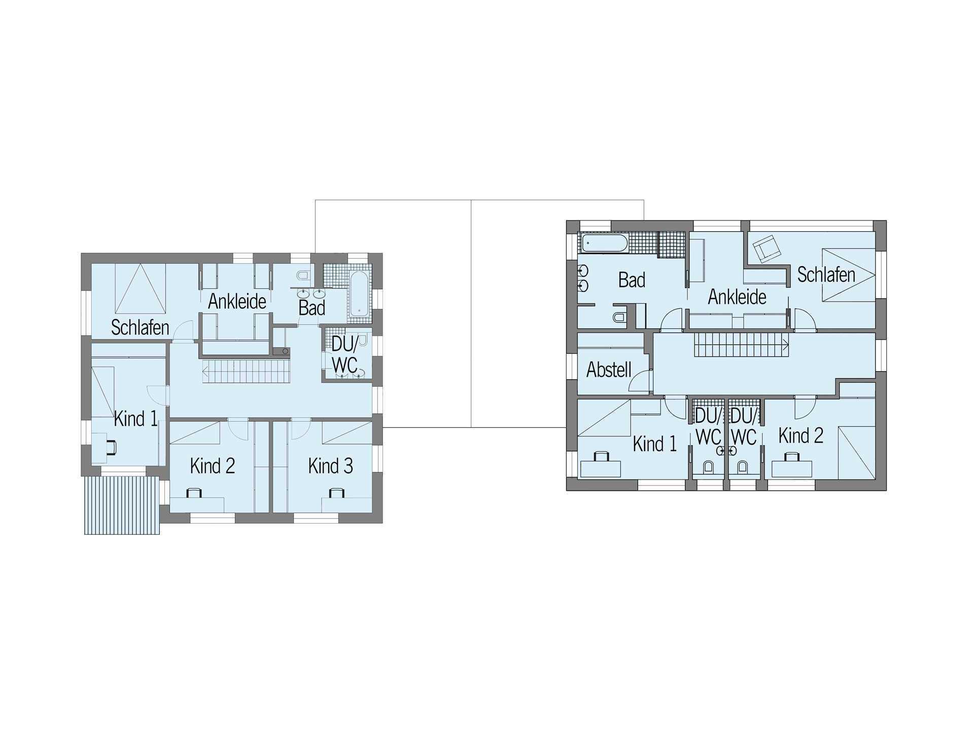 Grundriss Dachgeschoss Doppelhaus Nilles Baufritz