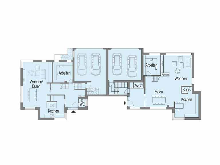 Grundriss Erdgeschoss Doppelhaus Nilles Baufritz