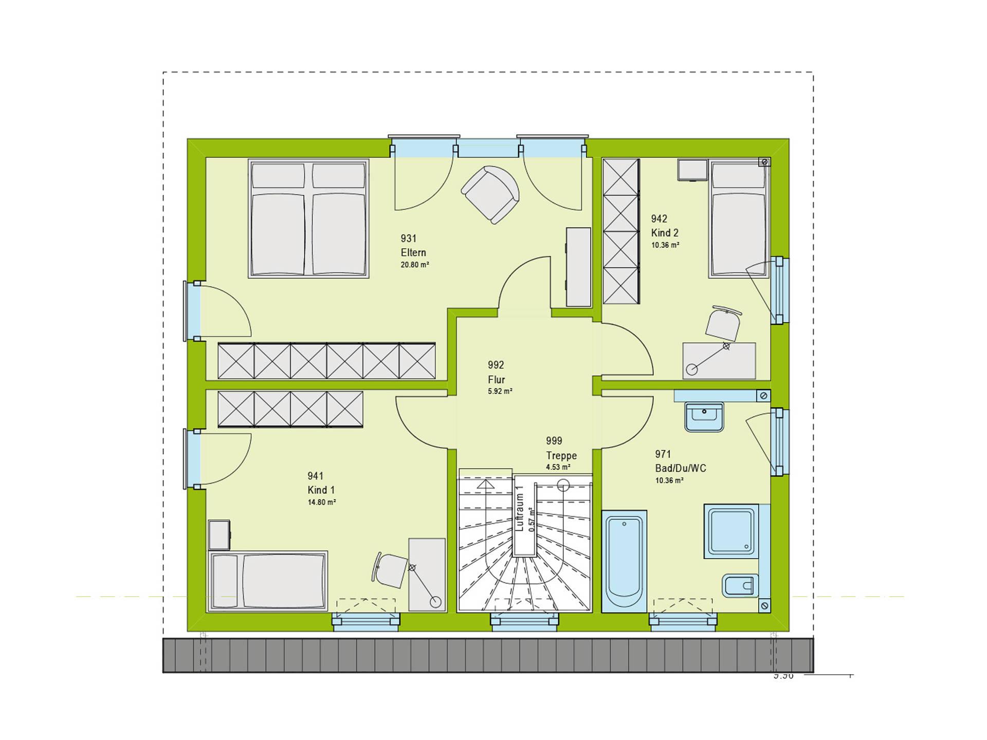 Haus Contur 2 V1 Grundriss OG von massa haus