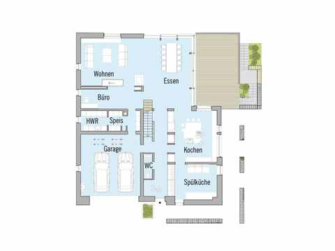 Grundriss Erdgeschoss Passivhaus Kieffer Baufritz