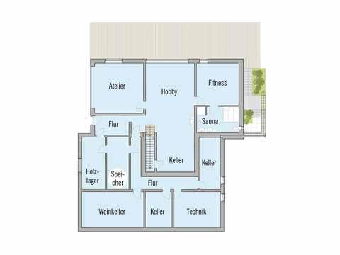 Grundriss Untergeschoss Passivhaus Kieffer Baufritz