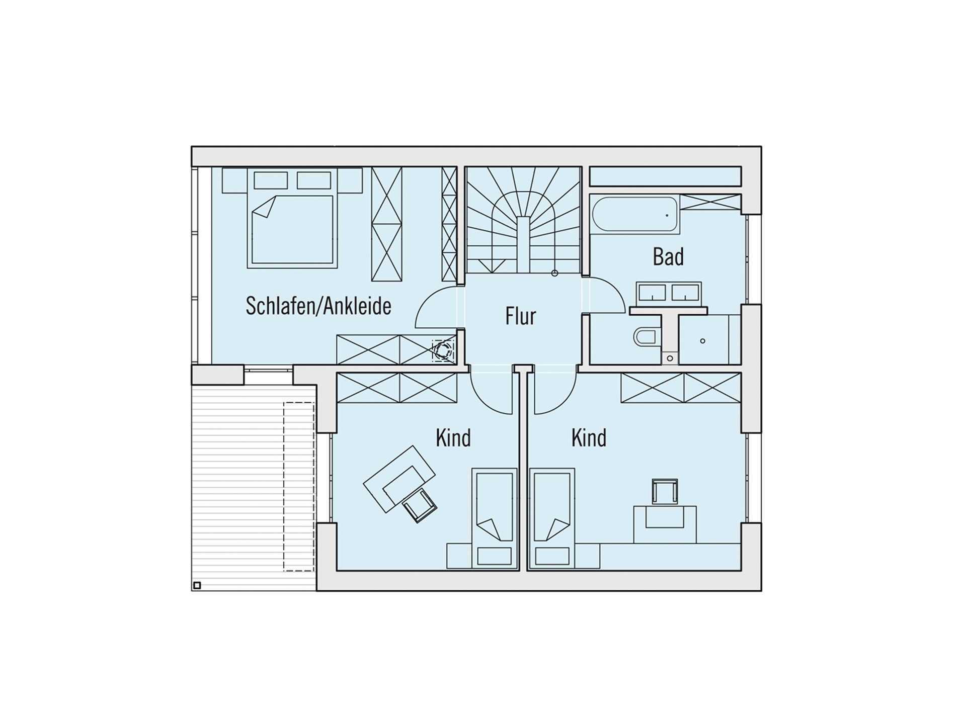 Grundriss Obergeschoss Musterhaus Edition Rot Baufritz