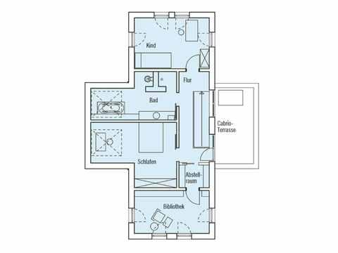 Grundriss Obergeschoss Musterhaus Qi Baufritz
