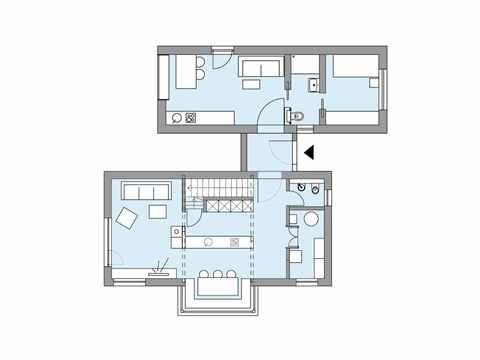 Grundriss Erdgeschoss Musterhaus S1 Baufritz