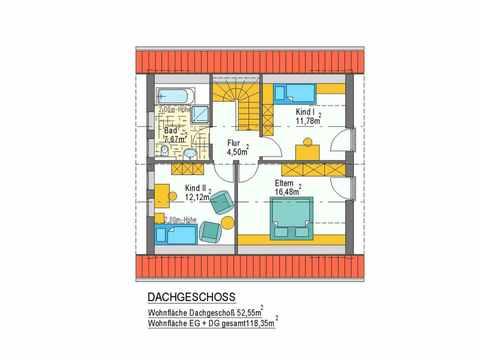 Haus Hortensie - ideal-heim-bau Grundriss DG
