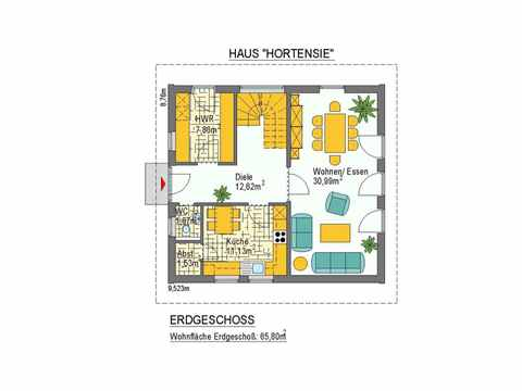 Haus Hortensie - ideal-heim-bau Grundriss EG