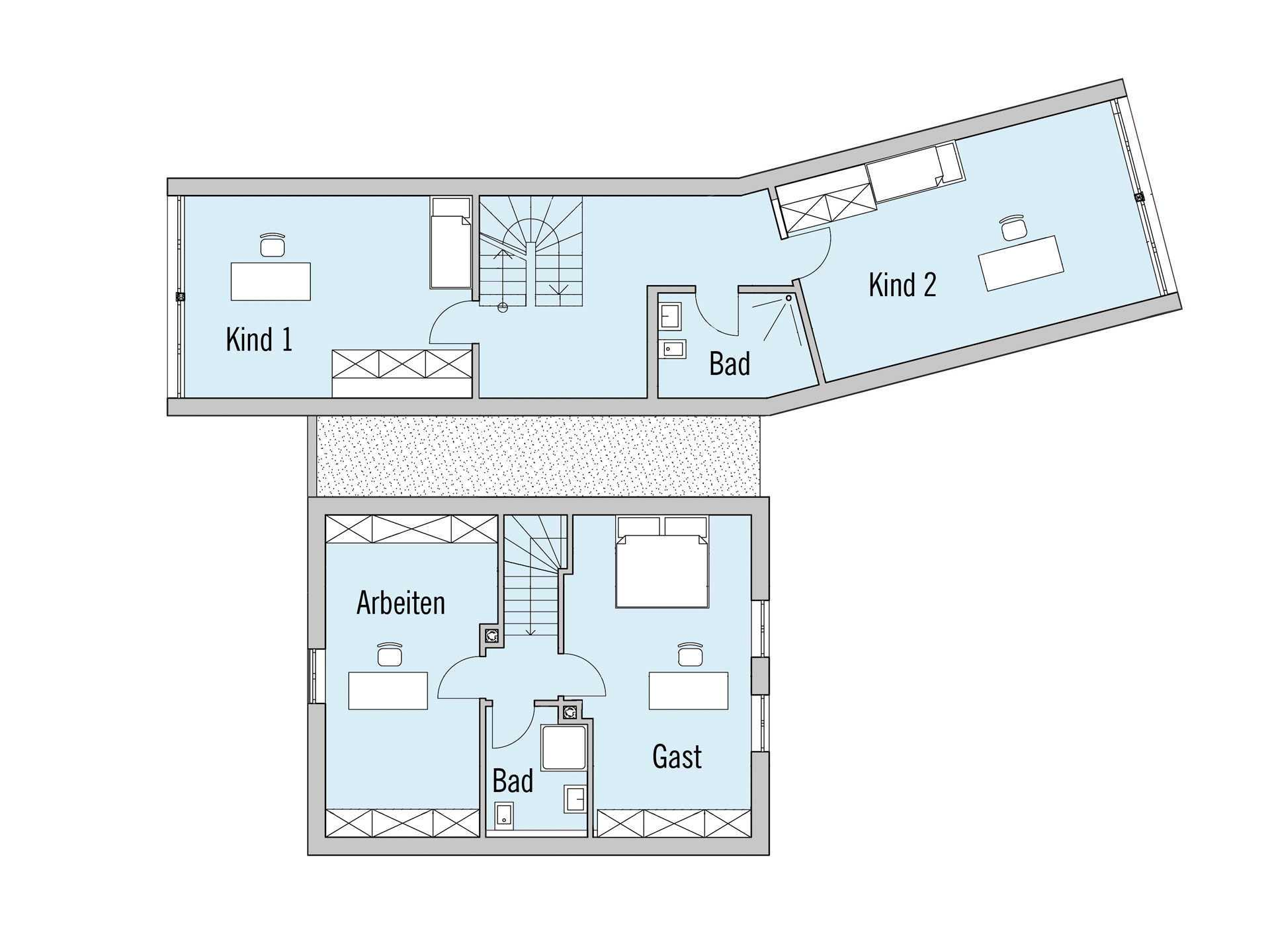 Grundriss Dachgeschoss Haus Rothermel Baufritz