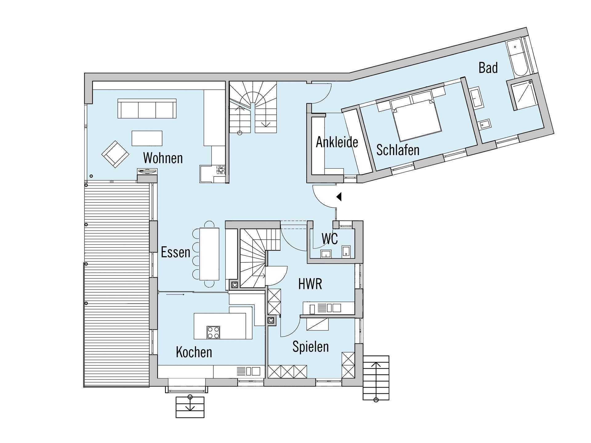 Grundriss Erdgeschoss Haus Rothermel Baufritz