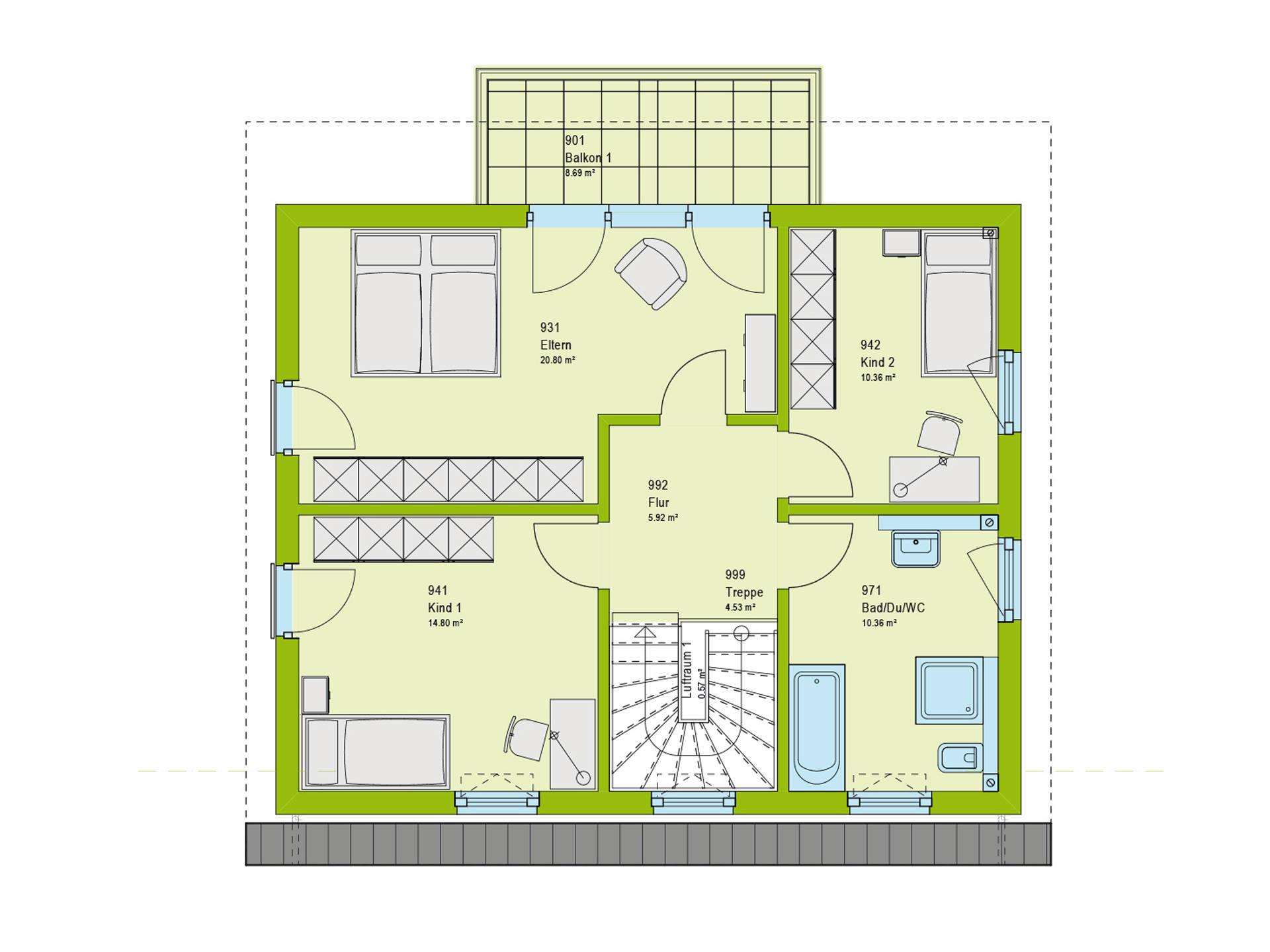 Haus Contur 2 V2 Grundriss DG von massa haus