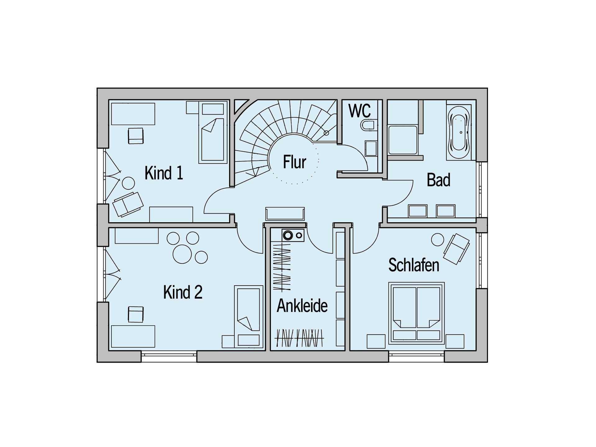 Grundriss Obergeschoss vom Sonnenhaus Reitmayervon  Baufritz