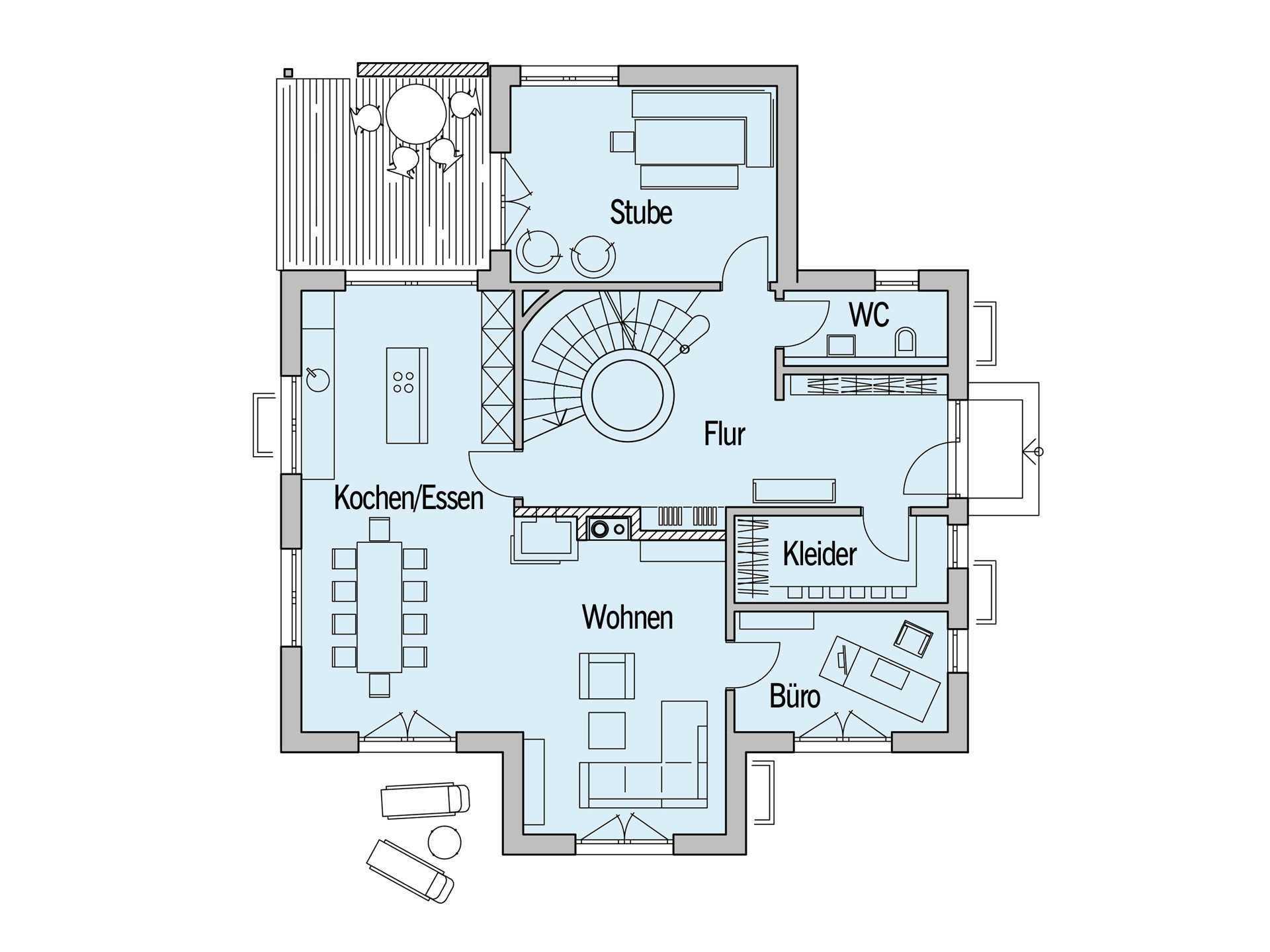 Grundriss Erdgeschoss Sonnenhaus Reitmayer Baufritz