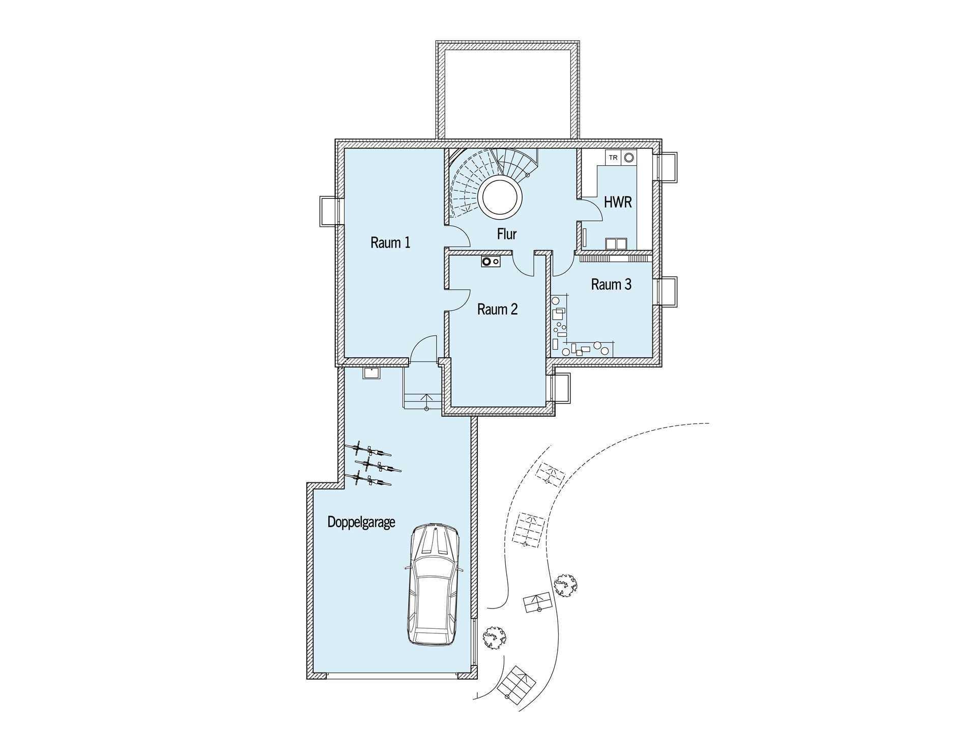 Grundriss Untergeschoss Sonnenhaus Reitmayer Baufritz