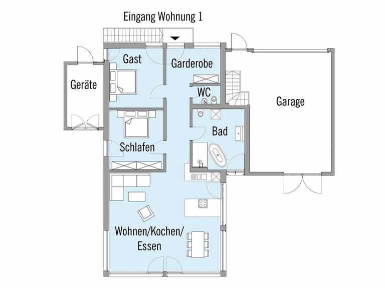 Grundriss Erdgeschoss Mehrfamilienhaus Erstling Baufritz
