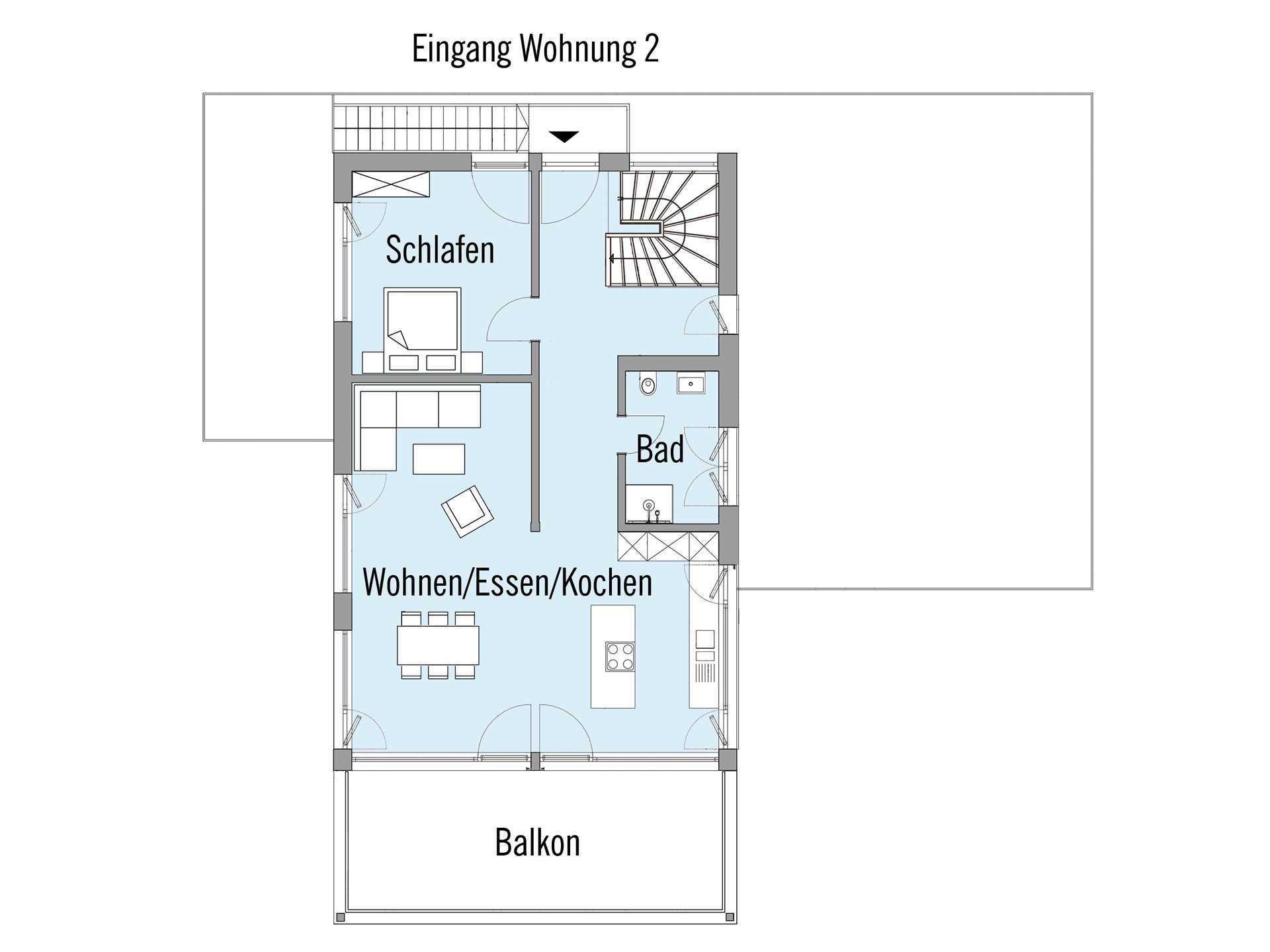 Grundriss Obergeschoss Mehrfamilienhaus Erstling Baufritz
