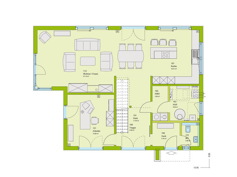 Massa Haus Pure 5 Grundriss EG