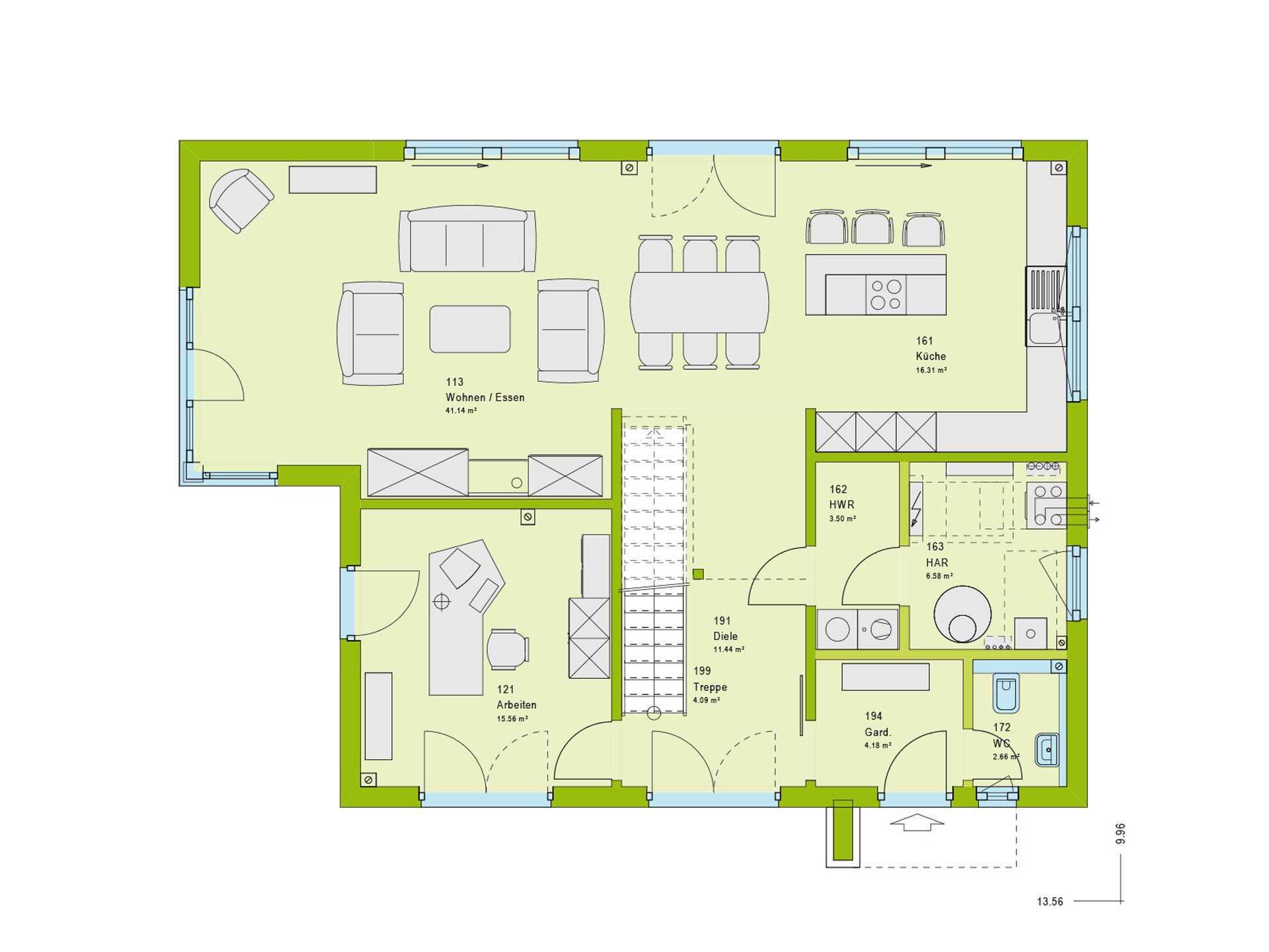 Haus Pure 5 Grundriss EG von massa haus