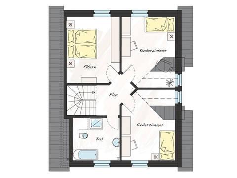 Grundriss Dachgeschoss Einfamilienhaus ProFamily 125 KK ProHaus