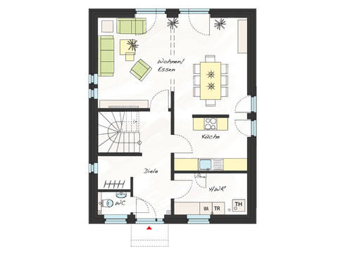 Grundriss Erdgeschoss Einfamilienhaus ProFamily 125 KK ProHaus