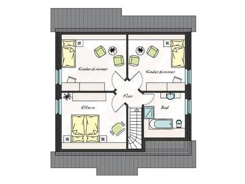 Grundriss Dachgeschoss Einfamilienhaus ProFamily 140 KK ProHaus
