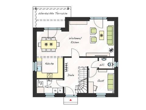 Grundriss Erdgeschoss Einfamilienhaus ProFamily 140 KK ProHaus
