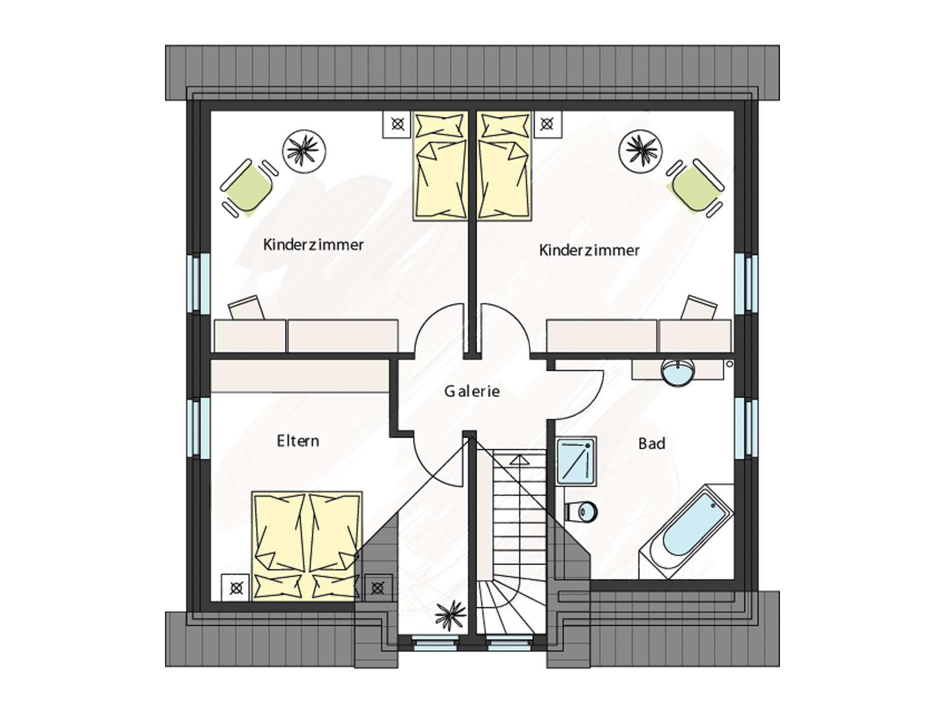 Grundriss Dachgeschoss Einfamilienhaus ProFamily 158 KK ProHaus