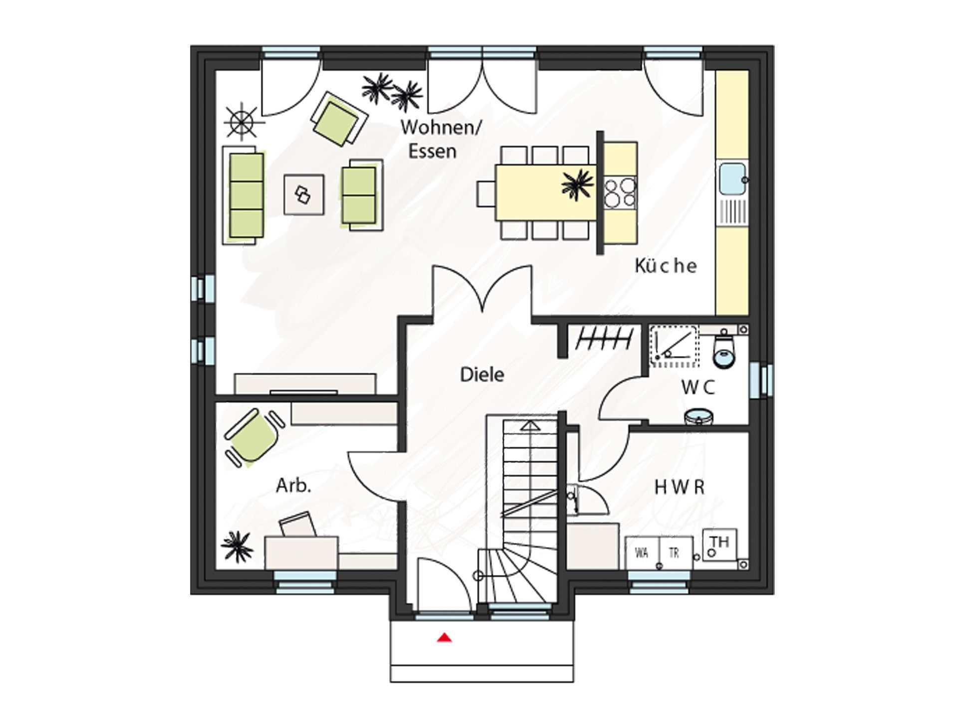 Grundriss Erdgeschoss Einfamilienhaus ProFamyli 158 KK ProHaus