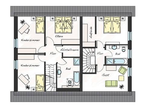 Grundriss Dachgeschoss Zweifamilienhaus ProGeneration 120/86 ProHaus
