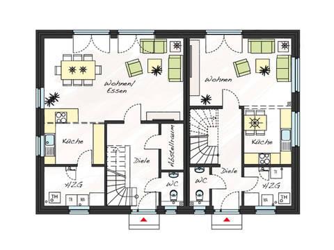 Grundriss Erdgeschoss Zweifamilienhaus ProGeneration 120/86 ProHaus